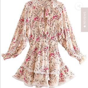 Floral mini dress in beige size small